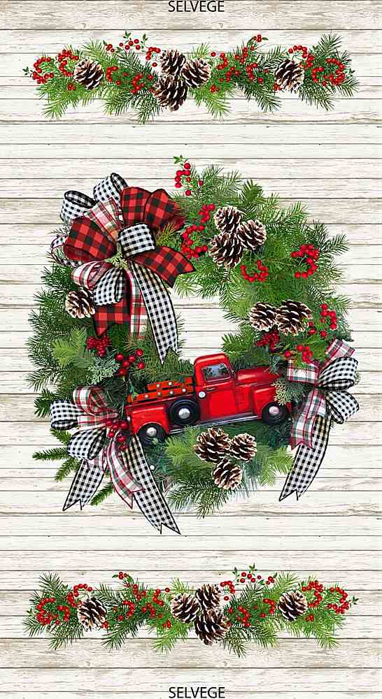 "PANEL-C7825 / MULTI / 24"" RED TRUCK WREATH PANEL"