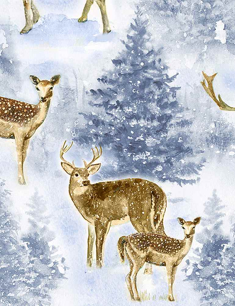 WINTER-C7847 / BLUE / WINTER REINDEERS
