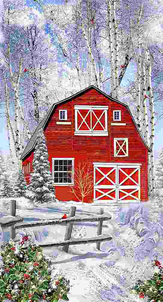"PANEL-C7868 / MULTI / 24"" WINTER RED BARN PANEL"