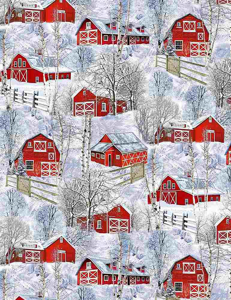 NATURE-C7869 / MULTI / RED BARNS IN SNOW