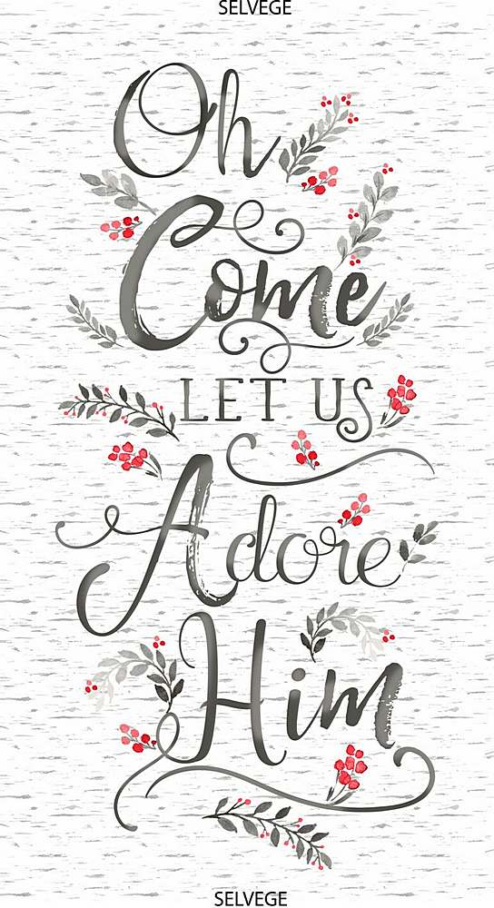"PANELGC-C7857 / WHITE / 24"" OH COME LET US ADORE HIM PANEL"