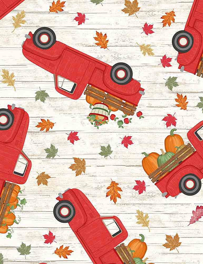 GAIL-C7865 / NATURAL / RED TRUCKS WITH PUMPKINS