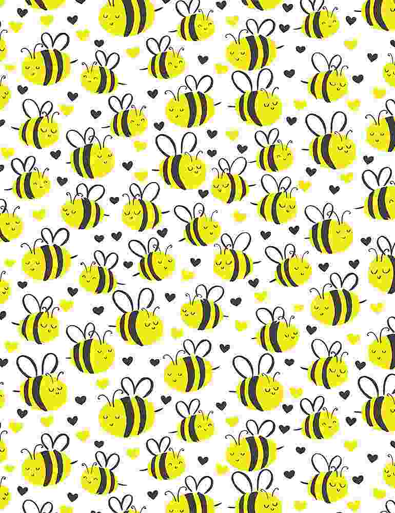 BEE-C7855 / WHITE / CUTE PLUMP BEES