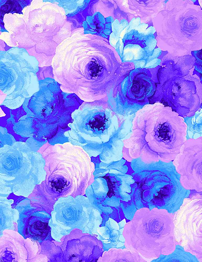BLOSSOM-C7938 / BLUE / PACKED ROSES