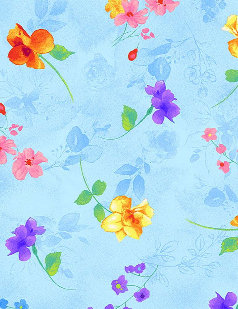 BLOSSOM-C7941 / BLUE / PRETTY FLOATING PASTEL FLOWERS