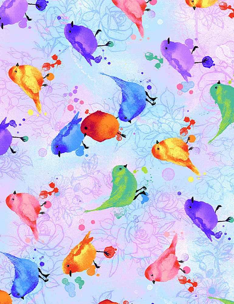 BIRD-C7942/MULTI / WATERCOLORPASTELBIRDS