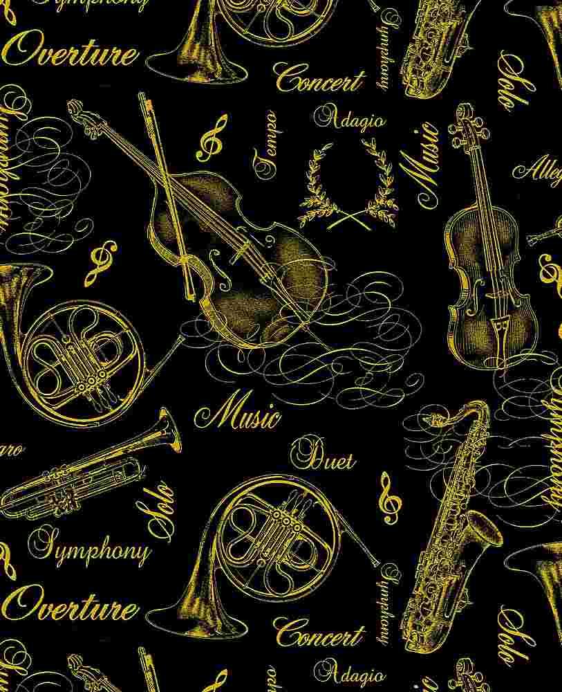 MUSIC-CM7953 / BLACK / 100% COTTON METALLIC