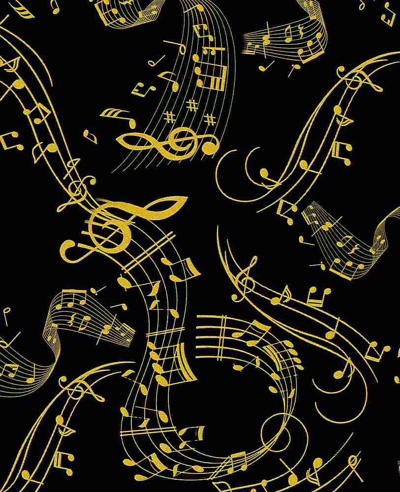 MUSIC-CM7954 / BLACK / METALLIC MUSICAL NOTES