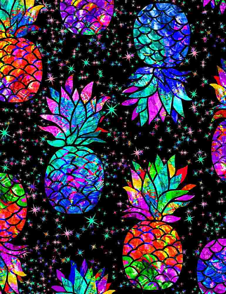 FUN-C7948 / BLACK / GALAXY TROPICAL PINEAPPLES