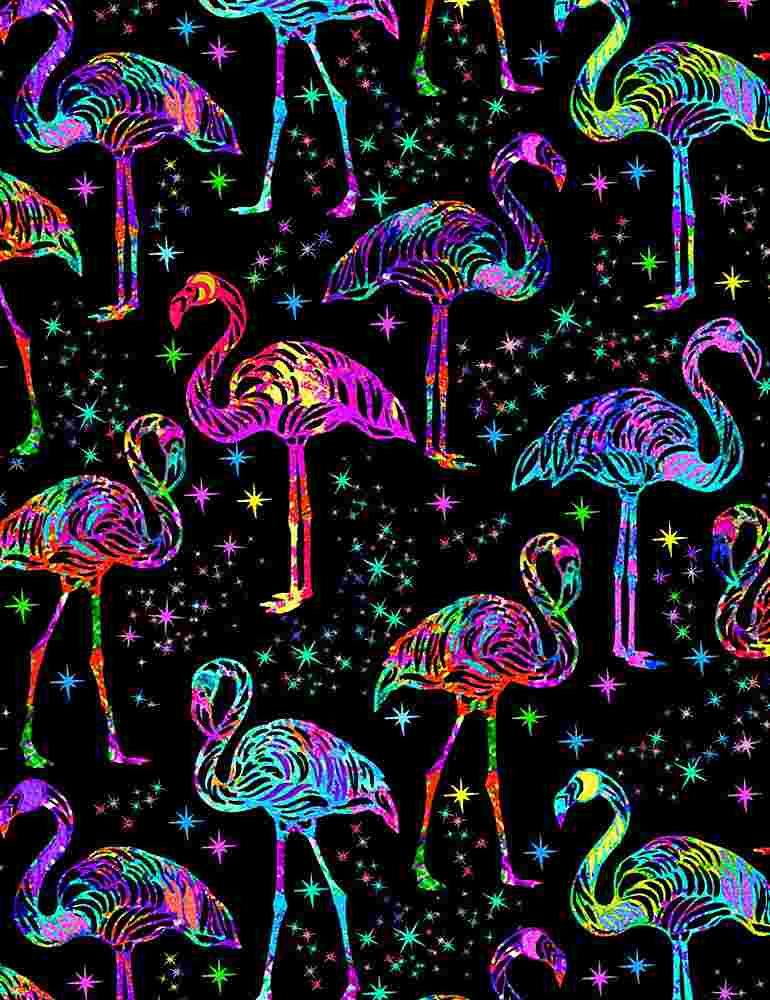 BIRD-C7950 / BLACK / GALAXY FLAMINGOS