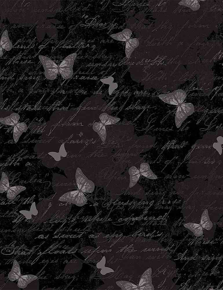 BUTTERFLY-C7975 / BLACK / ANTIQUE BUTTERFLY TEXT