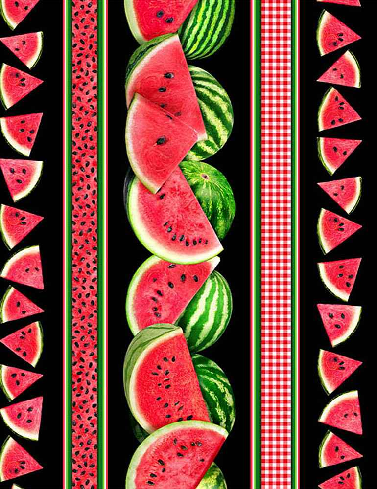 FRUIT-C7962 / BLACK / WATERMELONS & GINGHAM STRIPE