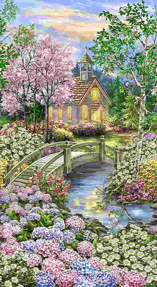 "PANELDG-C8001 / MULTI / 24"" PEACEFUL GARDEN FOREST CHAPEL PANEL"