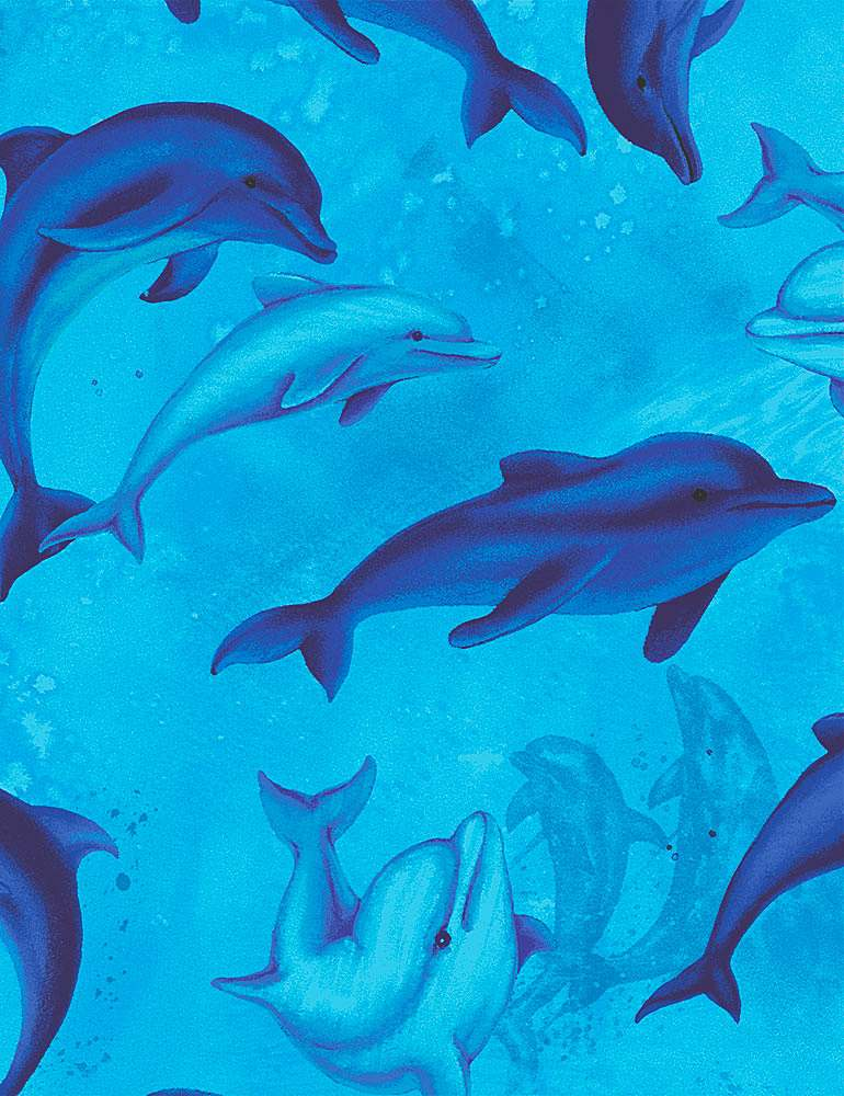 OCEAN-C8031 / BLUE / SWIMMING DOLPHINS