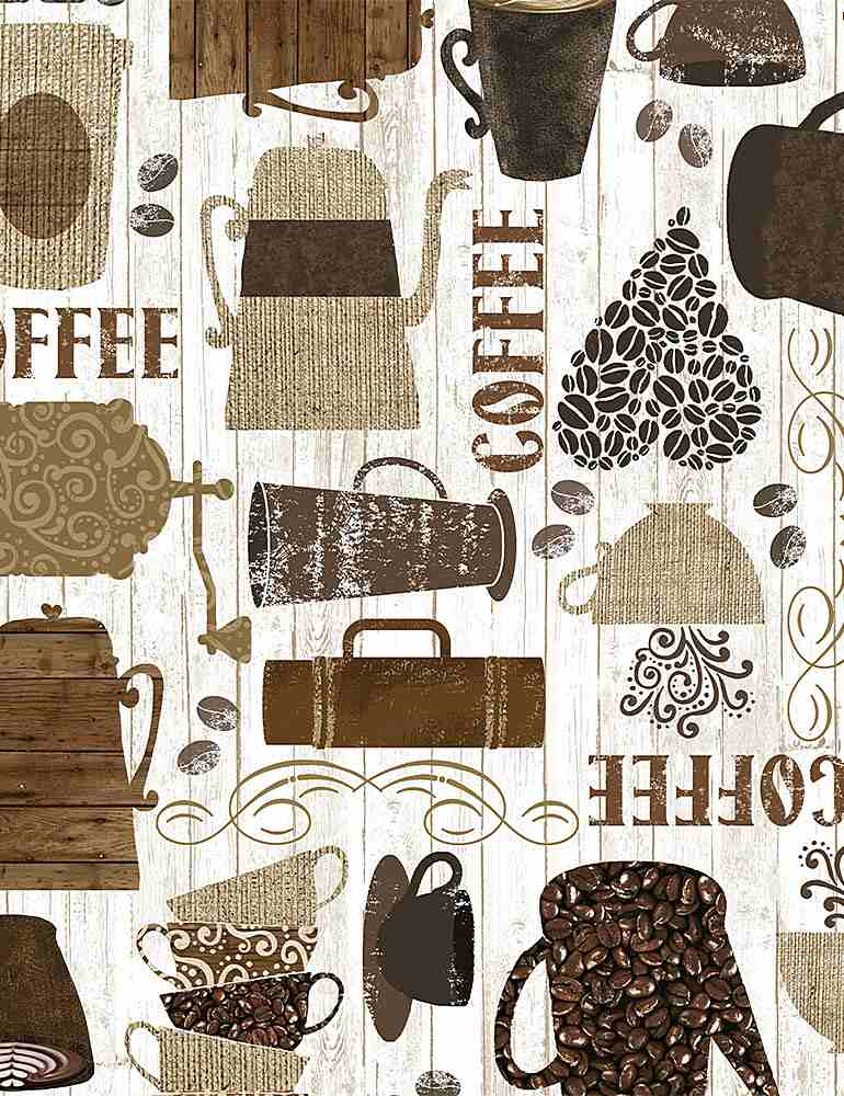 COFFEE-C7985 / BROWN / KITSCHY COFFEE MOTIFS