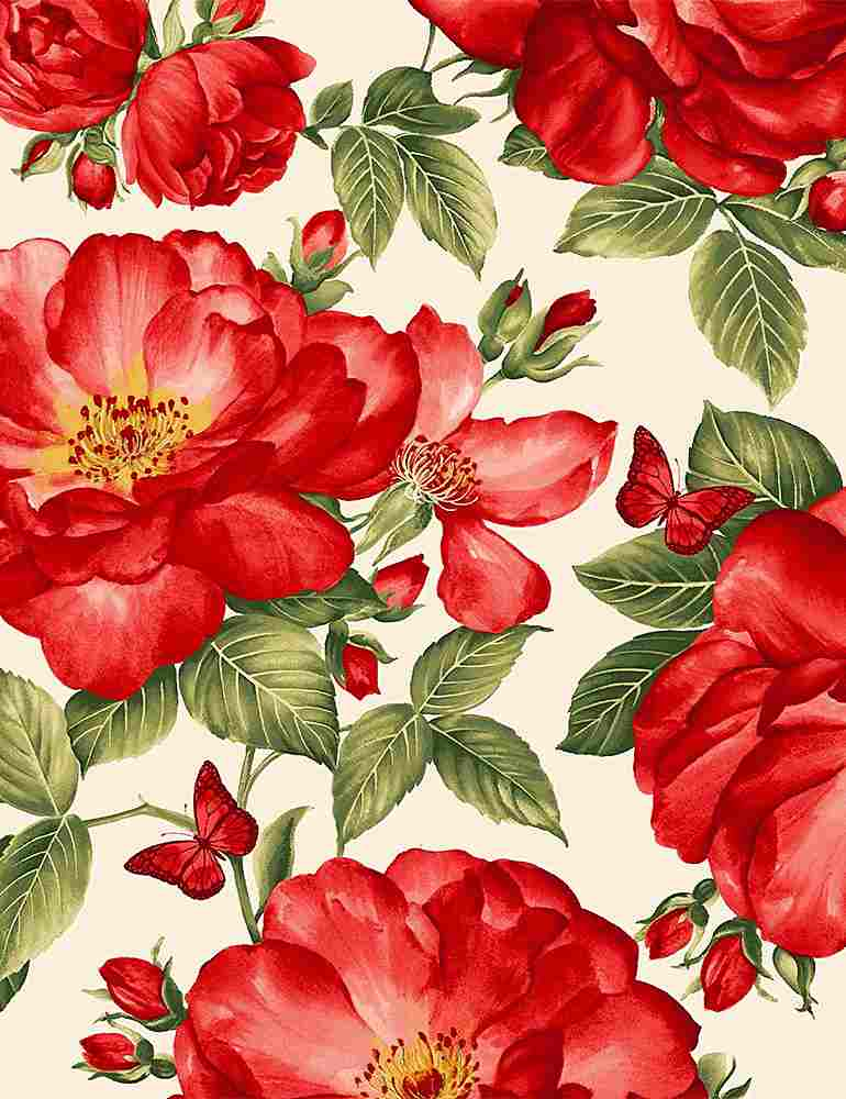 FLEUR-C7970 / CREAM / LARGE RED ROSES AND BUTTERFLIES/