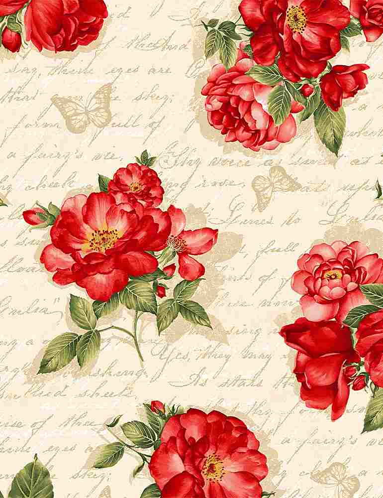 FLEUR-C7972 / CREAM / RED ROSES ON ANCIENT TEXT