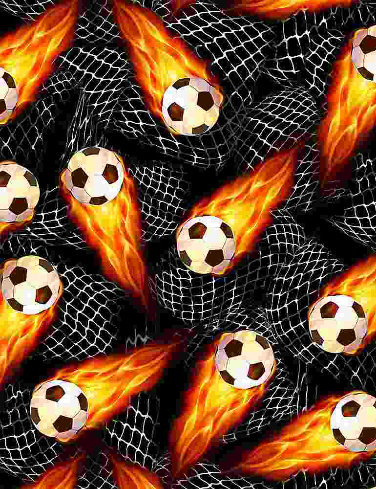 GAIL-C8047 / BLACK / FLAMING SOCCER BALLS