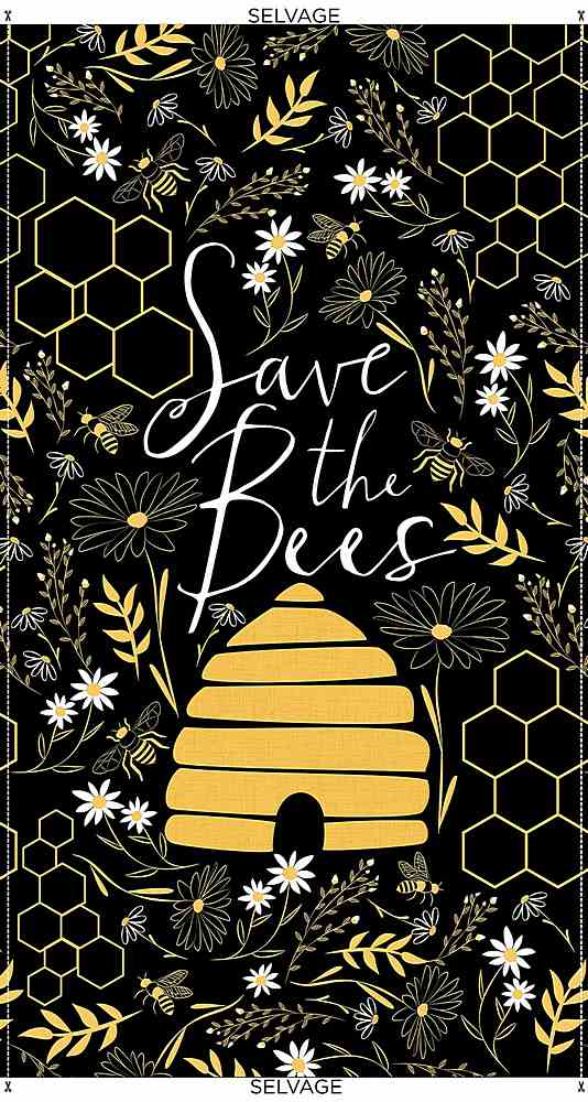 "PANEL-C8121 / BLACK / 24"" SAVE THE BEES PANEL"