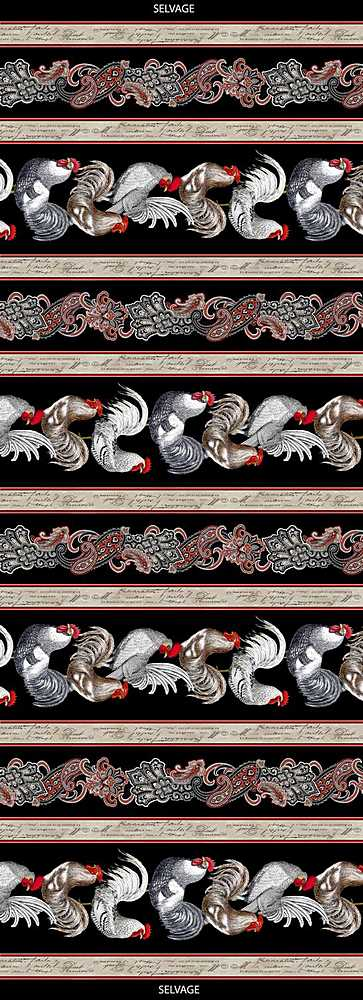 "FARM-C8143 / BLACK / PAISLEY FRENCH CHICKEN 11"" STRIPE"
