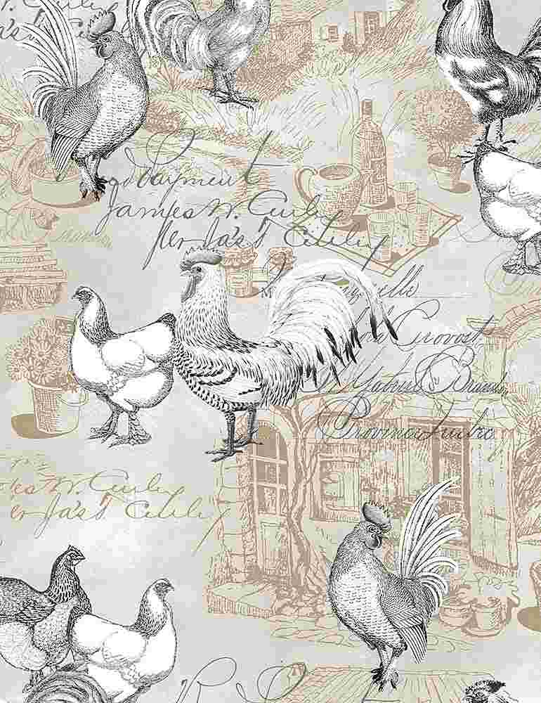 FARM-C8145 / NATURAL / FRENCH GREY CHICKENS ON TEXT