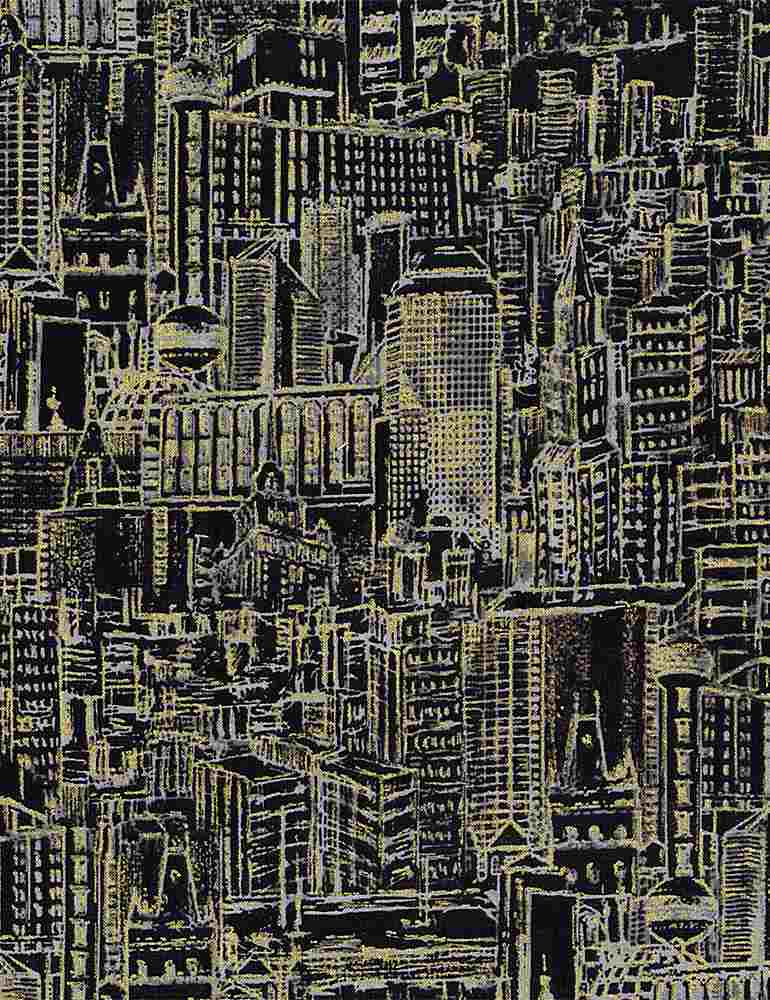 CITY-CM8153 / BLACK / URBAN LANDSCAPE SKETCH METALLIC