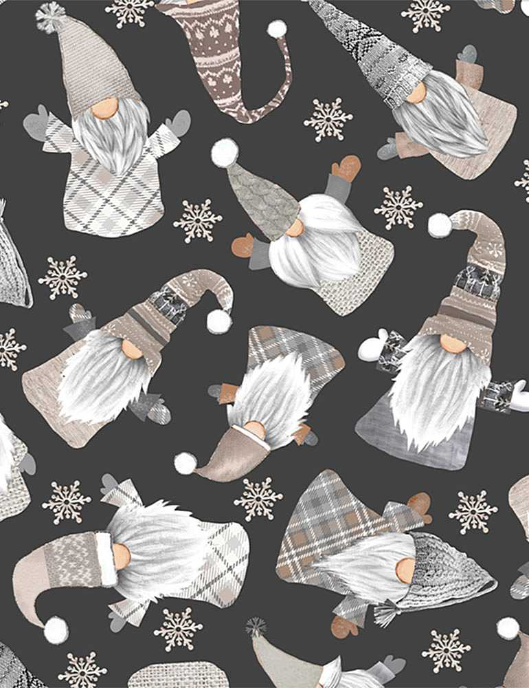 GAIL-C8207 / BLACK / TOSSED WHITE HOLIDAY GNOMES
