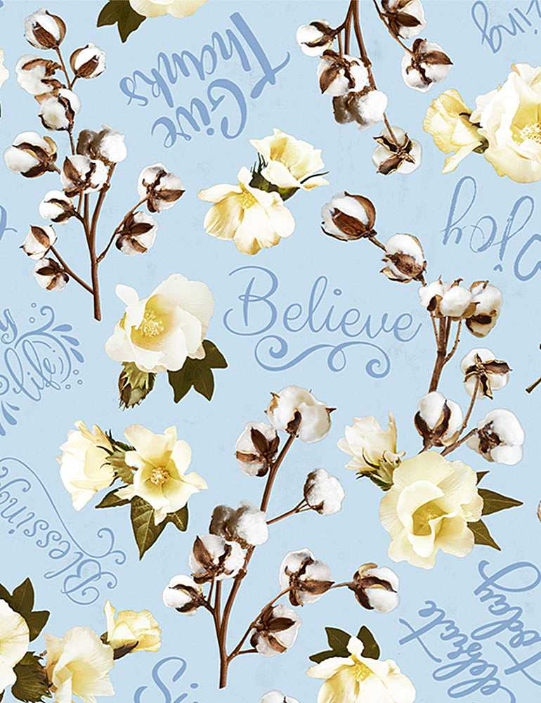 HOME-C8129 / BLUE / BELIEVE TOSSED COTTON