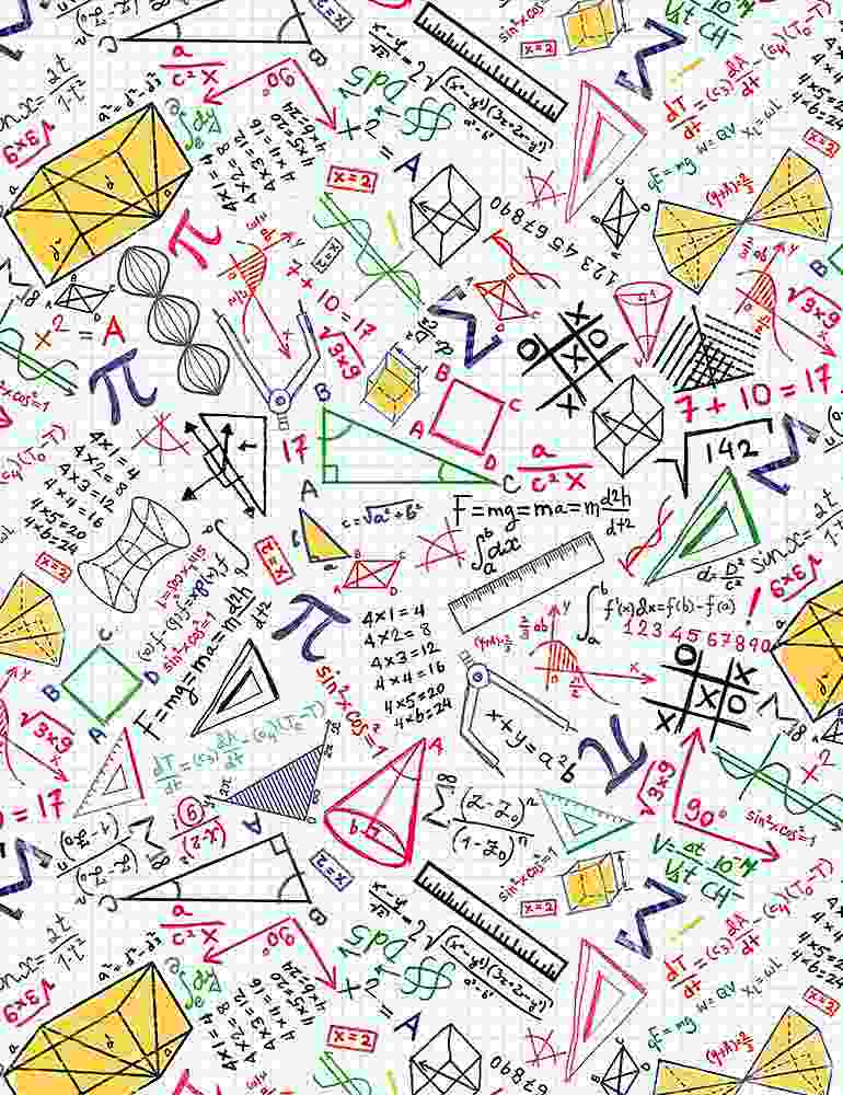GAIL-C8230 / WHITE / COLORFUL MATH DOODLES ON GRID