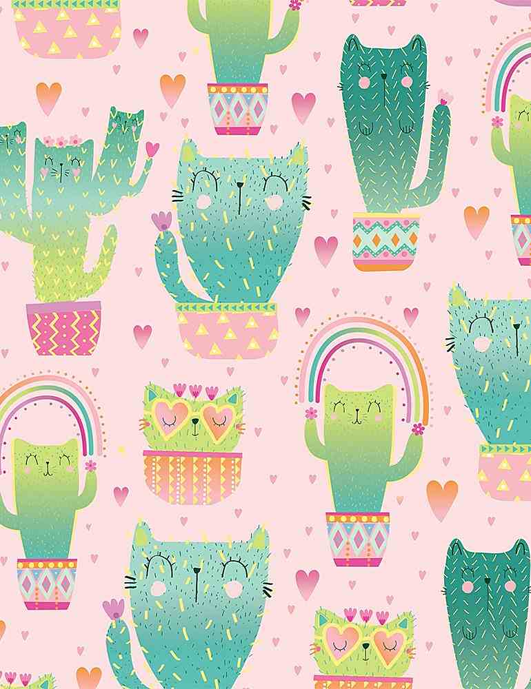 FUN-C8237 / PINK / QUIRKY CAT CACTI