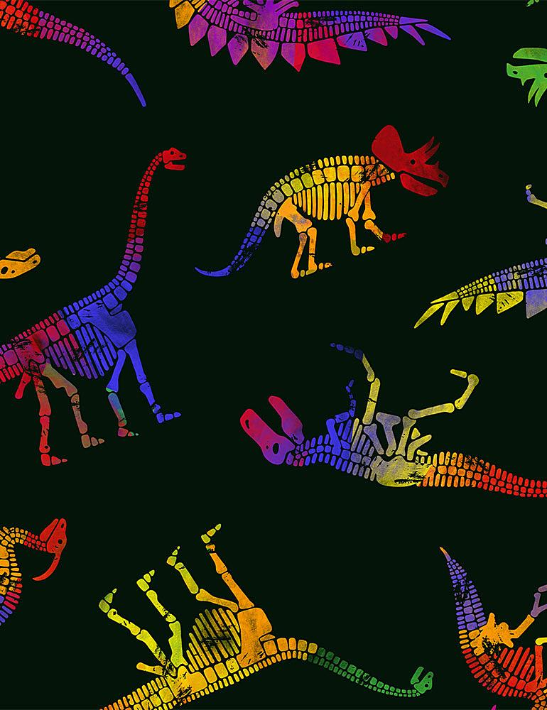 DINO-C8329 / BLACK / MULTI COLORED DINOS