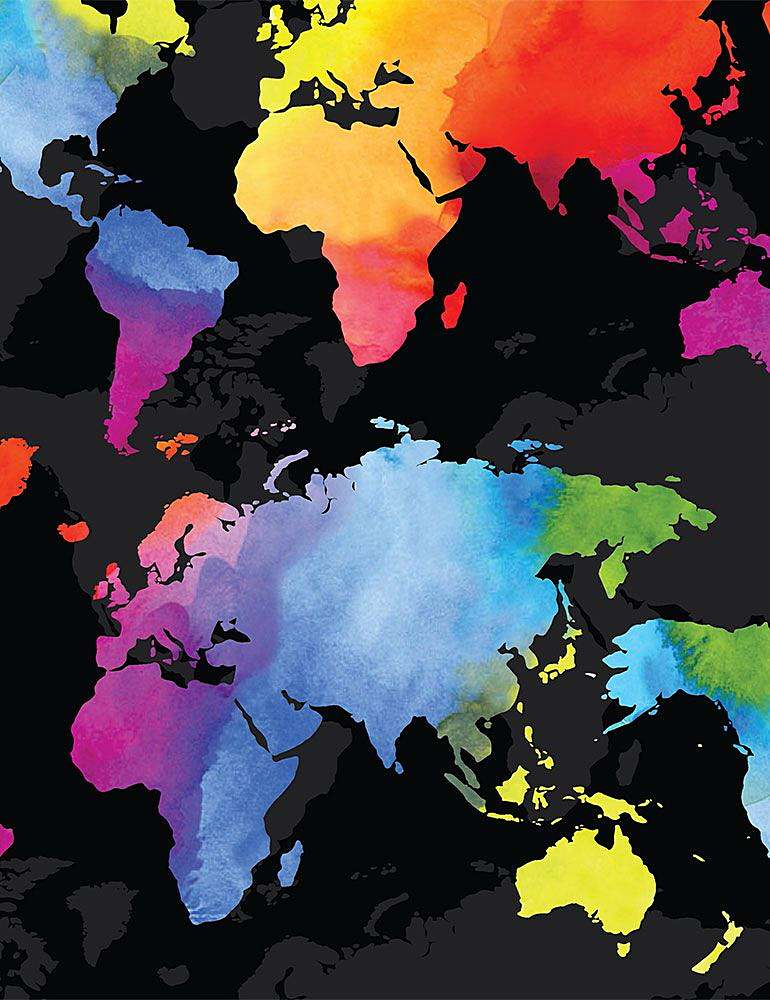 MAP-C8330 / BLACK / MULTI COLORED WORLD MAP