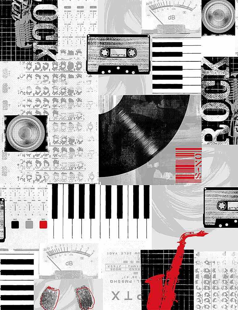 MUSIC-C8328 / MULTI / FADED MUSIC COLLAGE