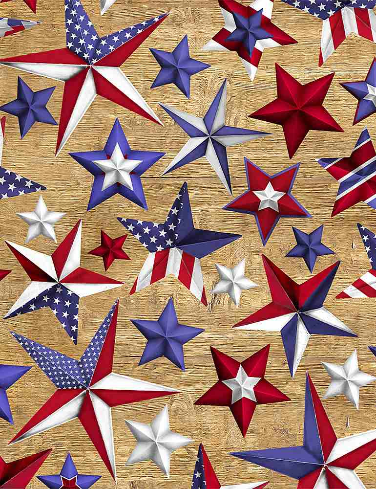 USA-C8363 / USA / PATRIOTIC STARS ON WOOD