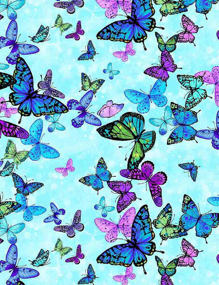 BUG-CD8373 / AQUA / FOREST MAGIC BUTTERFLIES