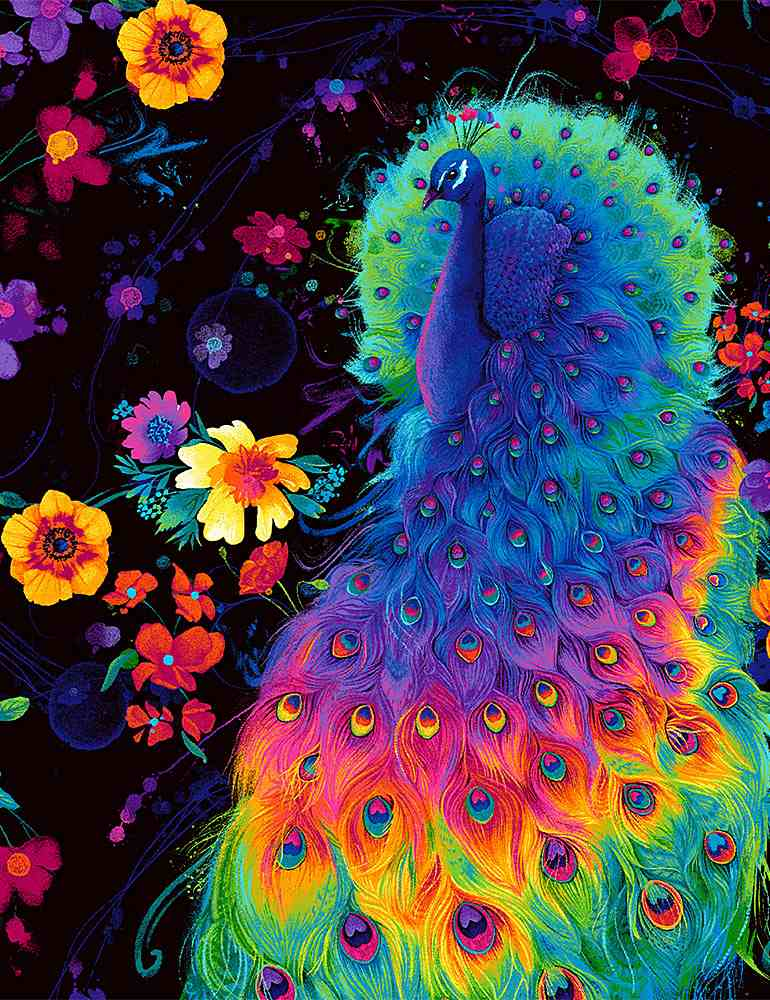PLUME-C8412 / BLACK / GLOW RAINBOW PEACOCK AND FLOWERS