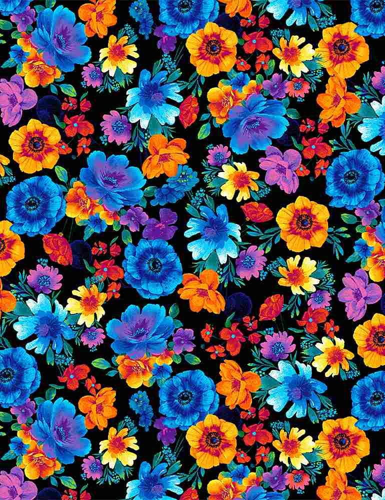 FLEUR-C8415 / BLACK / GLOW RAINBOW TOSSED FLOWERS