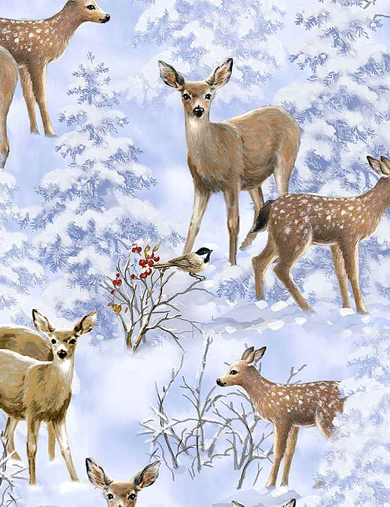 DONA-C8402 / BLUE / WINTER WOODLAND DEER