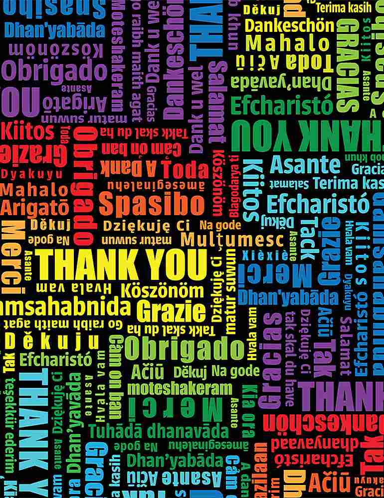 THANKS-C8421 / MULTI / THANK YOU WORDS MULTILINGUAL