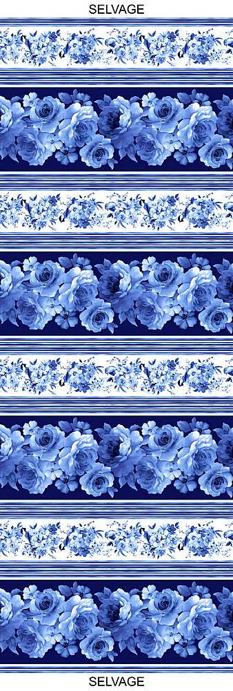 "FLEUR-C8446 / BLUE / LARGE BLUE FLOWER 11"" STRIPE"