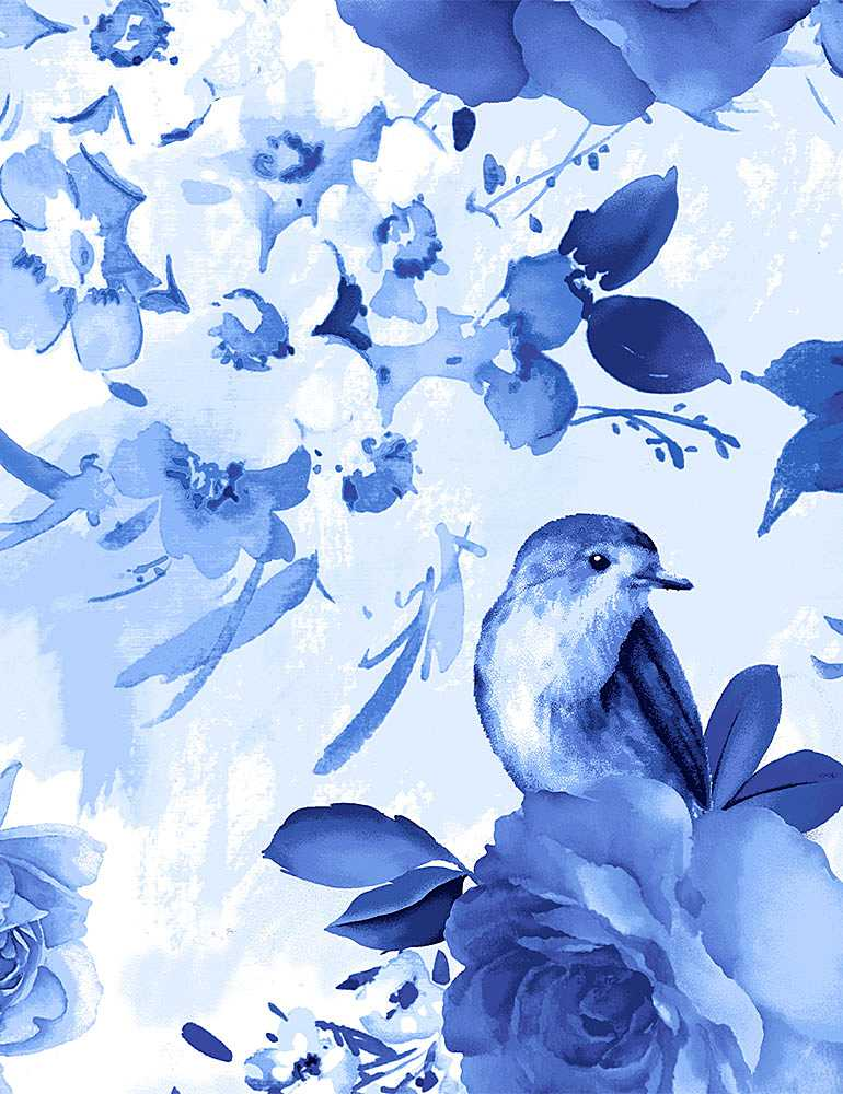 FLEUR-C8447/BLUE / LARGEBLUEFLOWERSANDBIRDS