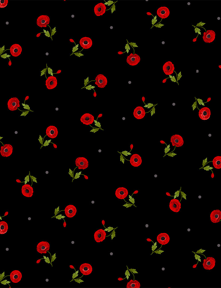 FLEUR-C8476 / BLACK / TOSSED SMALL RED POPPIES