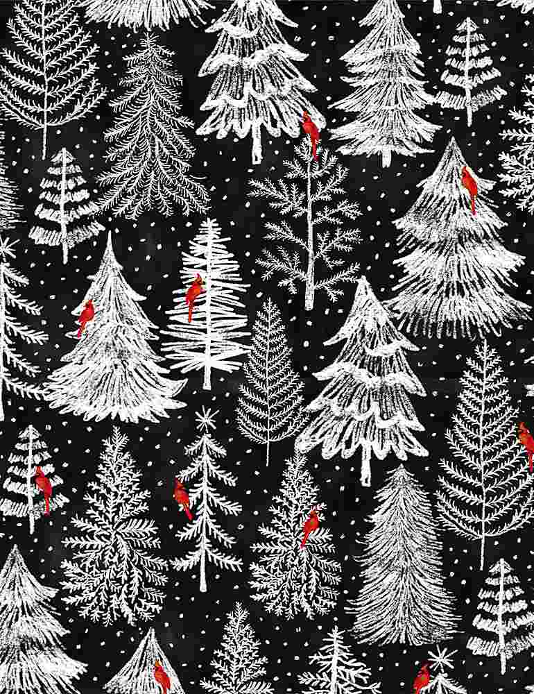 GAIL-C8468 / BLACK / HOLIDAY PINE FOREST TREES