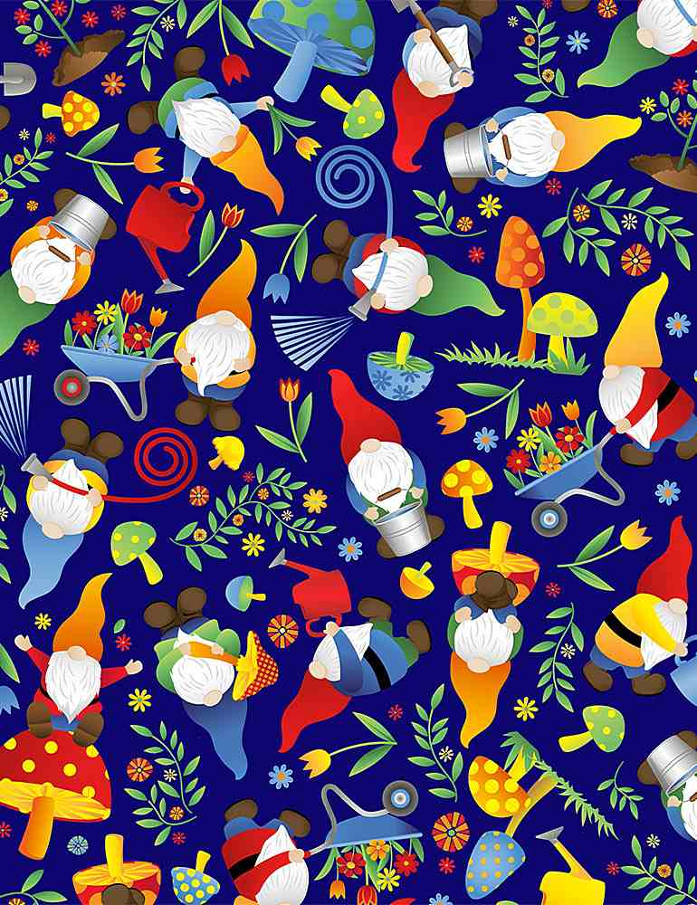 FUN-C8509 / NAVY / TOSSED WOODLAND GNOMES
