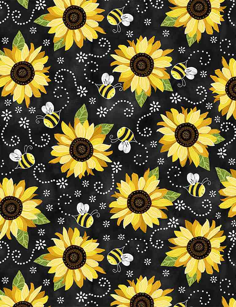 WSOFTIEG-PD5345 / BLACK / SUNFLOWER AND BEE CHALKBOARD