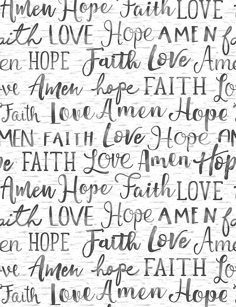 WSOFTIEG-PD7858 / WHITE / HOPE FAITH AMEN LOVE WORDS