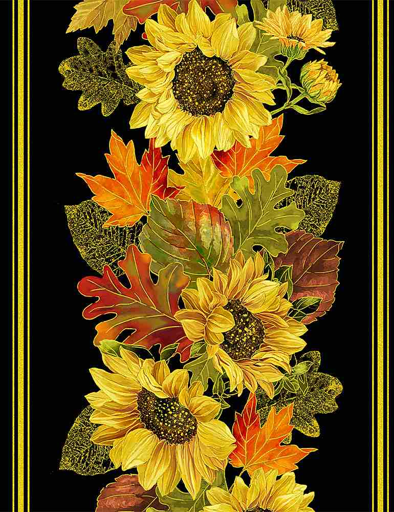 "HARVEST-CM8541 / BLACK / METALLIC HARVEST SUNFLOWER 11"" STRIPE"