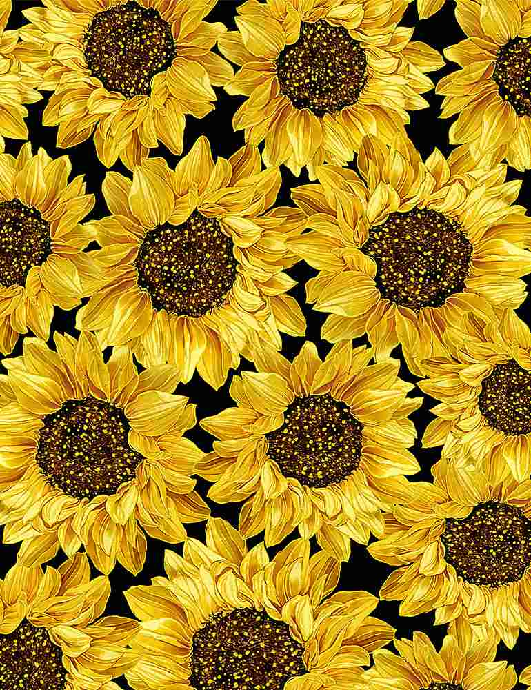 HARVEST-CM8543 / BLACK / PACKED METALLIC SUNFLOWERS