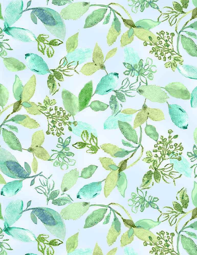 FLEUR-CD8618 / AQUA / WATERCOLOR VARIED LEAVES