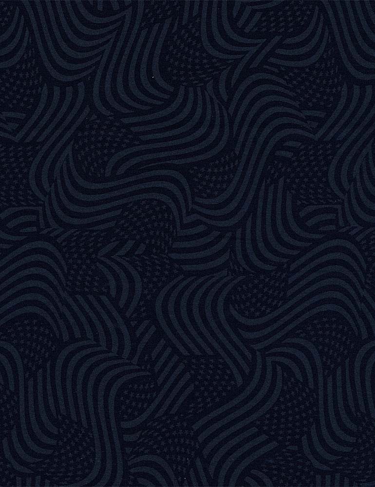 HUE-C8634 / NAVY / SWIRLED PACKED AMERICAN FLAGS